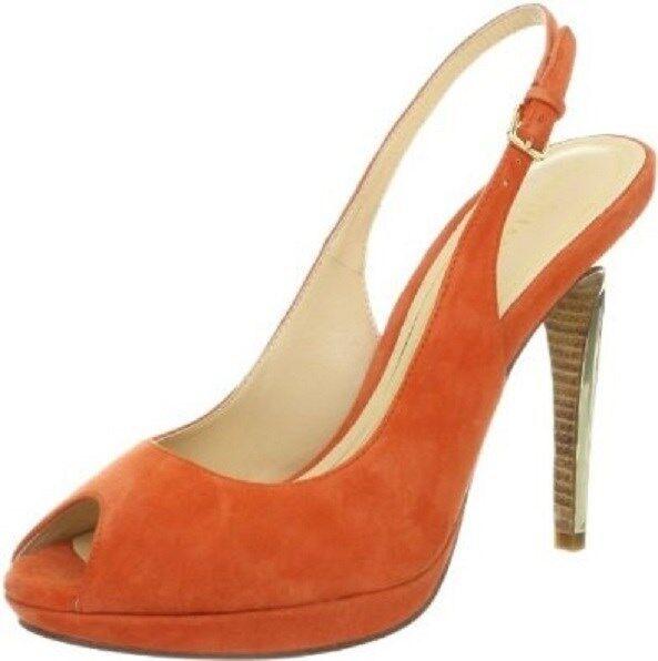 Cole Haan CHELSEA OT Slingback Peep Toe arancia Suede Pump Heels scarpe donna 7