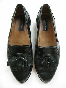 80ee3459615 Image is loading NORDSTROM-BLACK-LEATHER-LOAFERS-TASSELS-SIZE-9-1-