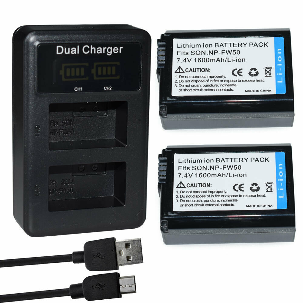 2X NP-FW50 battery + charger for Sony A6500 A6400 A6300 A7 AA7SII A7S A7R RX10