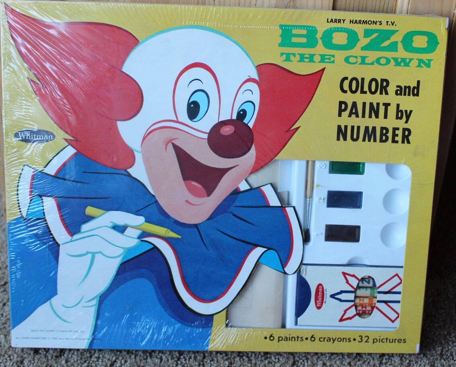 Payaso el Payaso Vintage Color y pintura por número para Colorar Set Larry Harmon