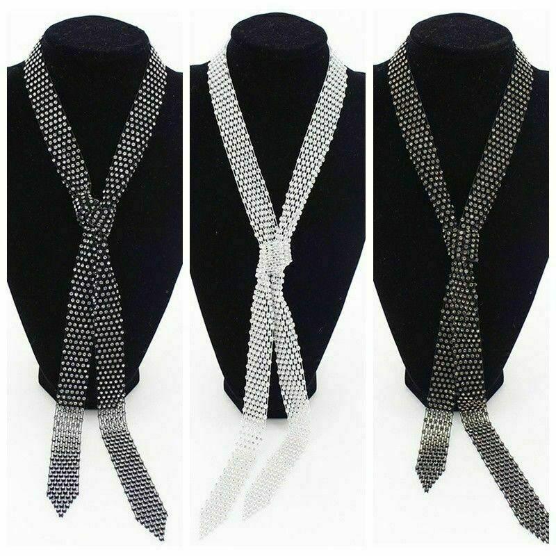 Unisex Crystal Necktie Cravat Strap Tie Glitter Fancy Performance Jazz Accessory