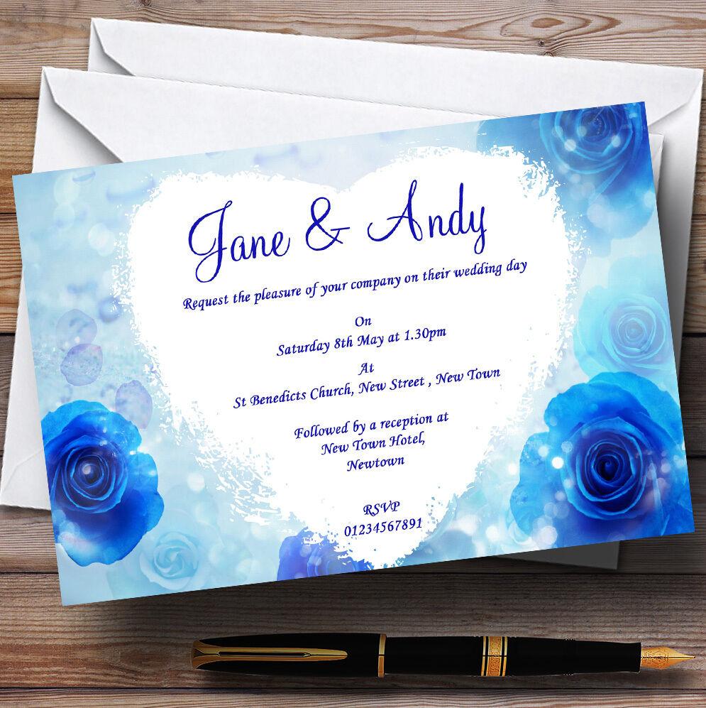 Impresionante Flores Azules romántico Personalizado Invitaciones De Boda