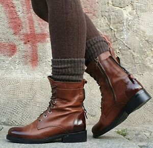 Piranha-Chelsea-Boots-Brown-A25-Echtleder-Stiefelette-Damen-Neu-Made-in-Italy