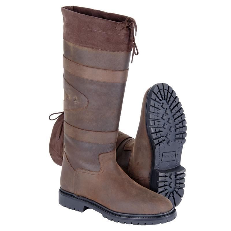 Toggi Quebec Impermeable Largo botas De Cuero Marrón Casual Caminar país