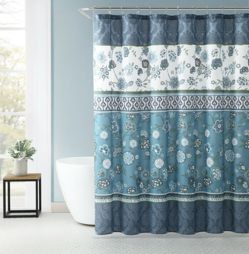 VCNY Home Antonia Blue Floral Medallion 13 Pc. Fabric Shower Curtain & Hooks Set