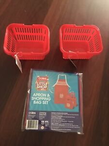 Coles Little Shop Apron & Bag Set Plus 2 Shopping Baskets NEW