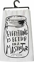 Primitives By Kathy Tea Towel - Everything Is Better In A Mason Jar, New, Free S on sale