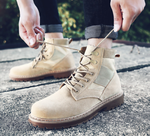 Mens Fashion Riding Boots High Top Lace Up Round Toes Solid Autumn Ankle Booties