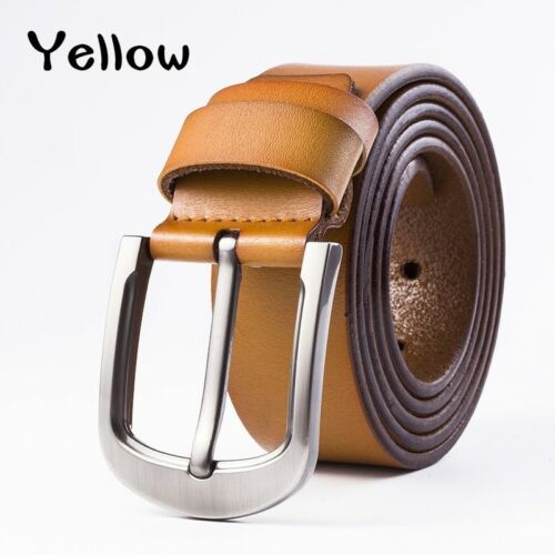 Mens Cowhide Genuine Leather Belt Waist Strap Glossy Pin Buckle Girdle Waistband