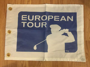EUROPEAN-TOUR-PGA-PIN-FLAG-WITH-GROMMETS-FREE-SHIPPING-TIGER-WOODS-AUTOGRAPHS