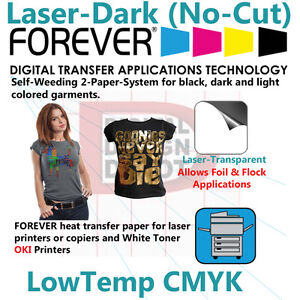 Details about NEW FOREVER Laser Dark (No-Cut) A&B Paper Heat Transfer for  OKI White Toner