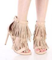 High Heel Sandals Fringe Tassel Ankle Strap Triple Layer Open Toe Women's Shoes