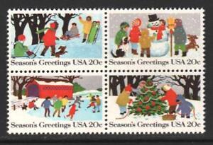 Scott-2027-30-1982-Commemoratives-20-cents-Seasons-Greetings-Block