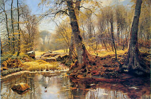 Huge Oil painting Peder Monsted spring landscape with trees by stream on canvas