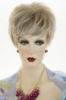 Light Gold Brown Tipped Platinum Blonde Short Straight Wigs