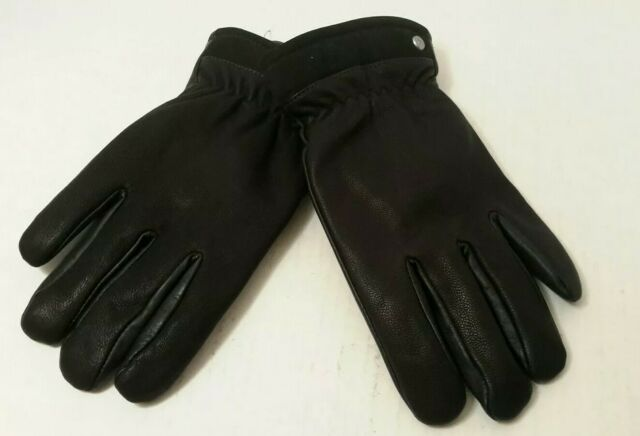 Isotoner Leather Gloves Winter Faux Fur Lined Cinched Wrist Black Women/'s M NWT