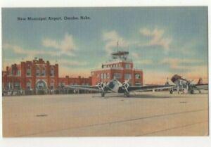New-Municipal-Airport-Omaha-Nebraska-USA-Vintage-Postcard-US129