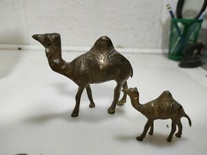 Set Of 2 Brass Camel Figurines, Brass Indian Camel Figurines, Motifes.