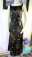 Set NWT Laura Ashley Silk Black Embroided flower Top &  Skirt  US 6 UK 10 EUR 36