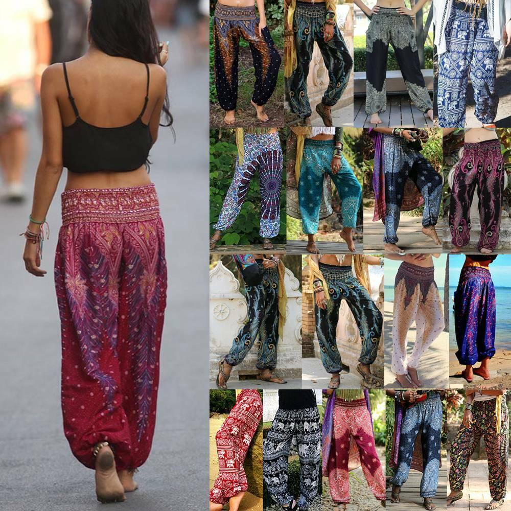 Womens Boho Baggy Loose Dance Hippie Pants Ladies Yoga Harem Trousers Plus Size