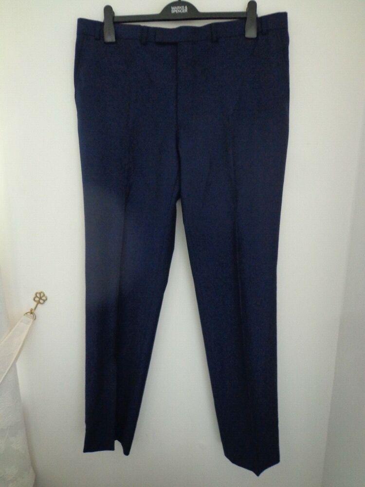 """100% De Qualité Bnwt Homme M&s Collection Luxe Gamme Marine Habillé Pantalon Taille 38"""" I/jambe 33"""" Officiel 2019"""