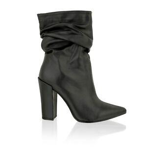 Womens Ladies Block Heel Slouch Ankle
