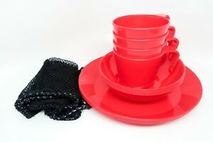GSI Outdoors Cascadian Red 4-Person Table Set Plates Bowls Cups Camping Mess Kit