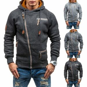 96bd1df8a90 Men Slim Fit Sweatshirt Pullover Zip Up Casual Hoodie Hooded Sweater ...