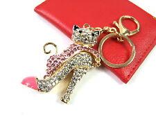 Gold Heels Shoes Cat Keyring Dangling Rhinestone Diamante Handbag Buckle Charm