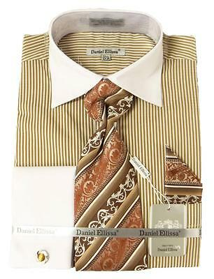 Mens Daniel Ellissa Striped Taupe Dress Shirt French Cuffs Tie,Hanky,Cufflinks