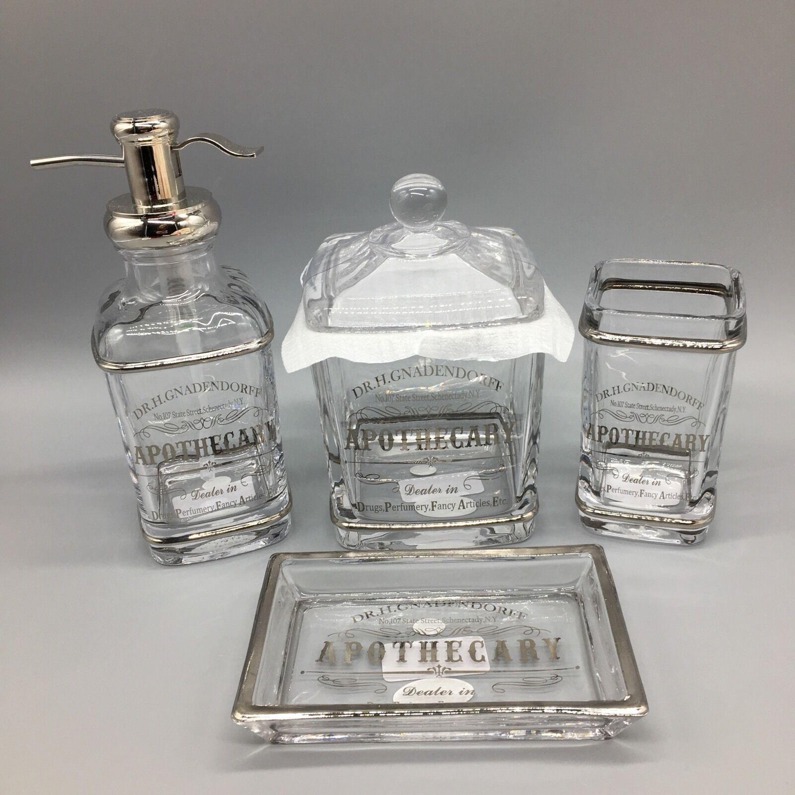 4pc BELLA LUX Parisian Bath Set Dr Apothecary Jar Soap Dispenser Toothbrush NEW