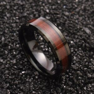 8mm Black Men/'s Tungsten Carbide ring Red Wood Inlay Wedding Band Men/'s Jewelry