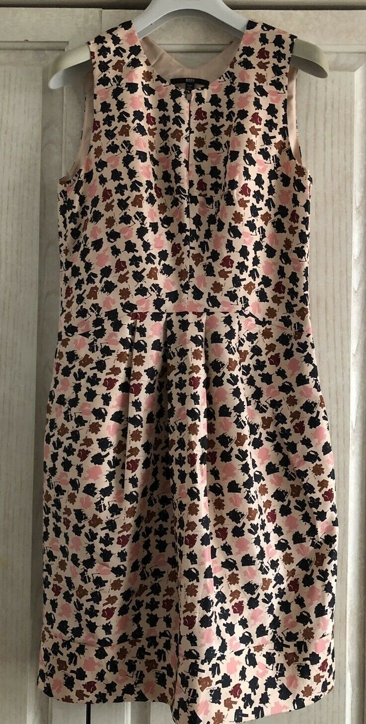 HUGO BOSS Woherren Dress Sz 2 100% Silk Rosa Print Denira Sleeveless Dress Lined