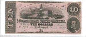 1862-Confederate-States-of-America-10-T52-3470-Ch-VF-Cut-Cancelled