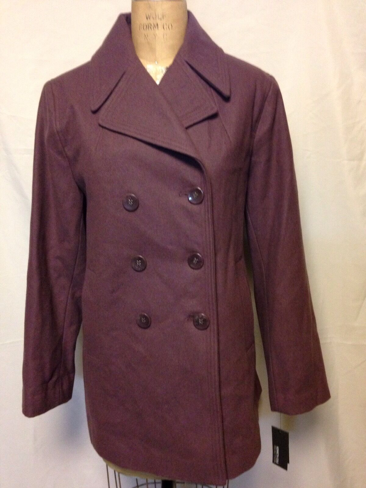 Kenneth Cole Reaction Plus Size Double Breasted Peacoat 0X Mauve 175XM565 NWT