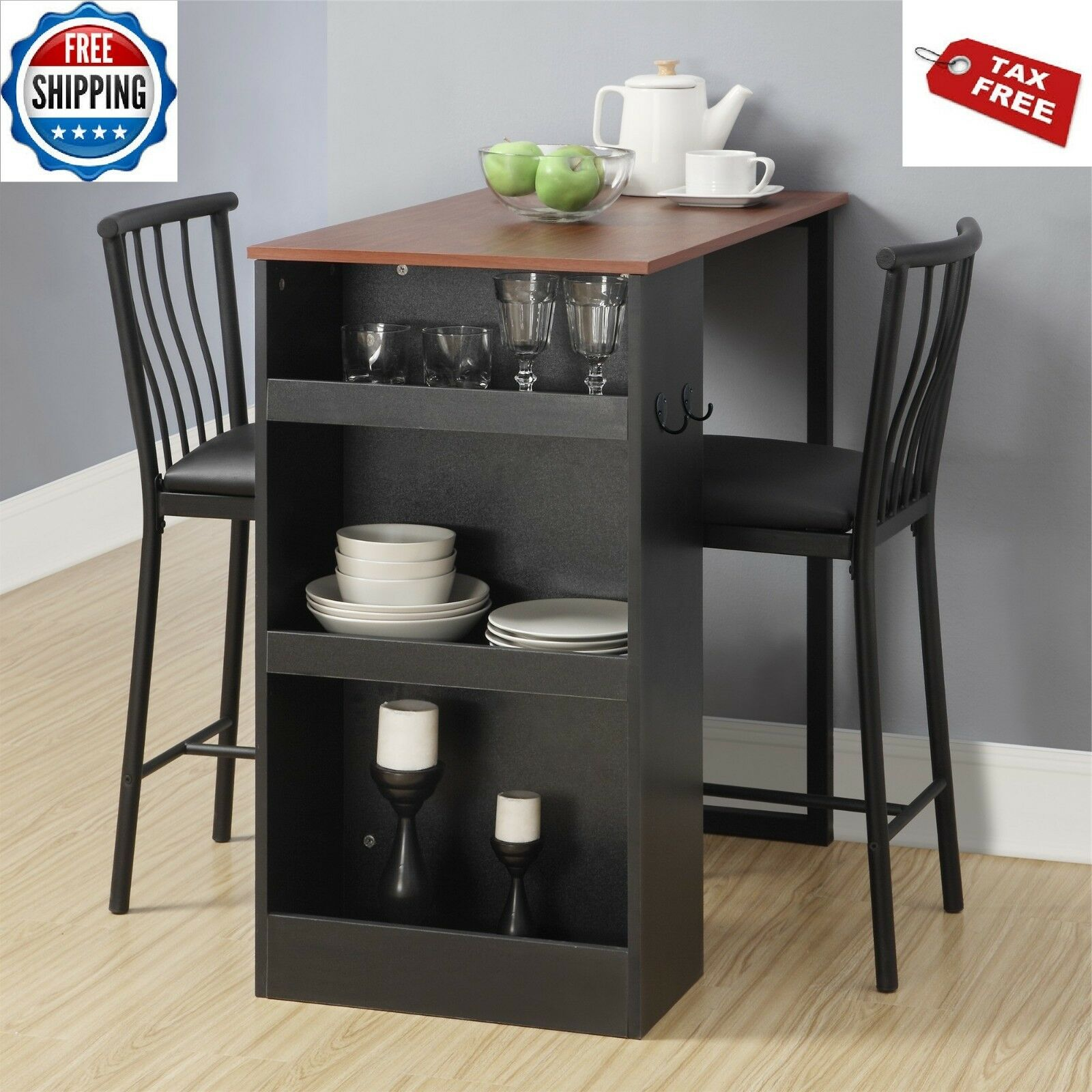Pub Dining Table Set Space Saver Counter Height Kitchen Breakfast Bistro Bar