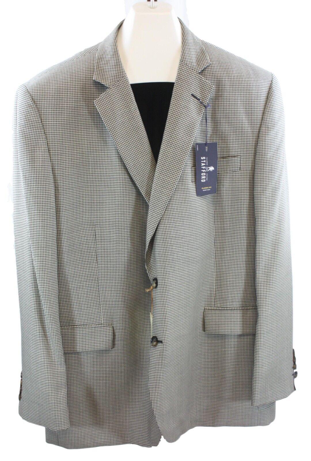 Mens Stafford Navy White Herringbone Silk Wool  Sport Coat Size 48R NWT