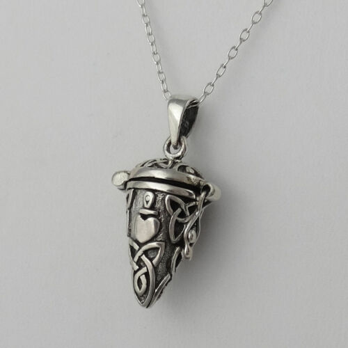 Triquetras Ashes NEW 925 Sterling Silver Celtic Knot Hinged Pendant Necklace