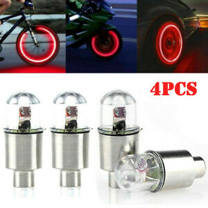 4PCS Red LED Wheel Tyre Tire Air Valve Stem Cap Lights Lamp For Car Bike
