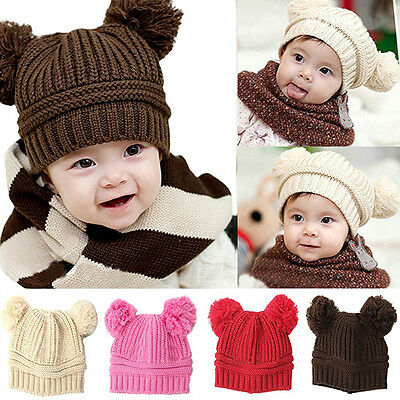 Lovely Baby Girls Boys Kids Exquisite Dual Ball Knit Sweater Cap Winter Warm Hat