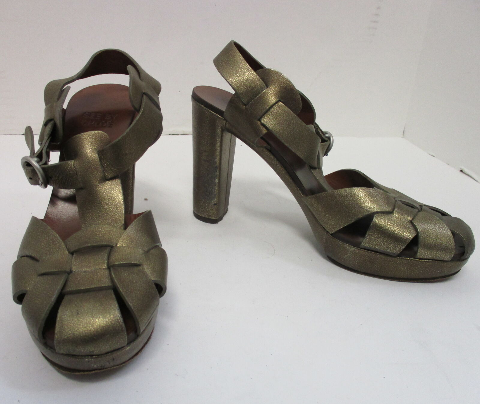 SEE by CHLOE bronze woven leather platform T- strap strap strap sandal pumps sz 7 8e702b