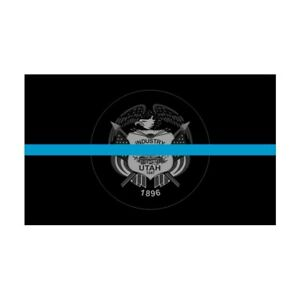 Utah UT State Flag Thin Blue Line Police Sticker / Decal #282 Made in USA