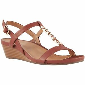 a6ce49f89aaa Vionic Port Cali Rust Womens Leather Ankle Strap Wedge Sandals ...
