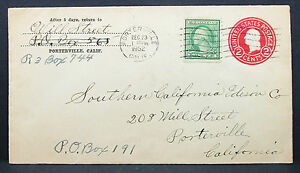 US-Postal-Stationery-Cover-Porterville-California-2c-1952-GS-USA-Letter-H-7777