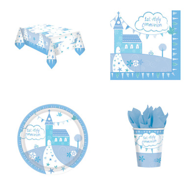 Blue First 1st Holy Communion Boys Party Tableware Napkins Plates Tablecover