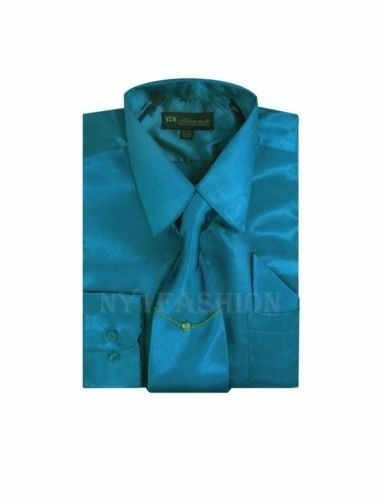 Boy/'s/& Kid/'s Shiny Satin Dress Shirt With Tie and Handkerchief Set Style KG-05