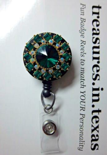 Elegant Emerald Rhinestone Retractable Reel ID Badge Holder Alligator Clip