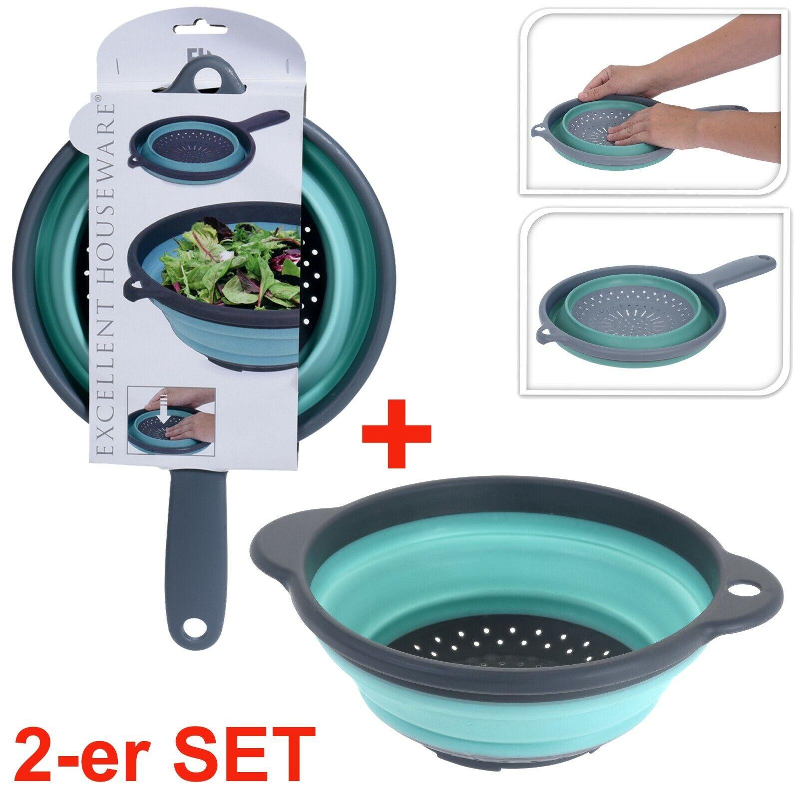 NEU 2- tlg Küchensieb Edelstahl 20,5 und 23,5 cm Nudelsieb Set Abtropfsieb