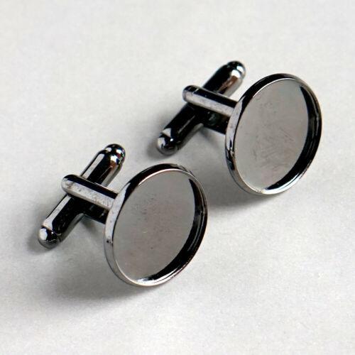 16 mm Gunmetal Noir Boutons de manchette blanc rond lunette Résine Verre Cabochon 10 Paires UK
