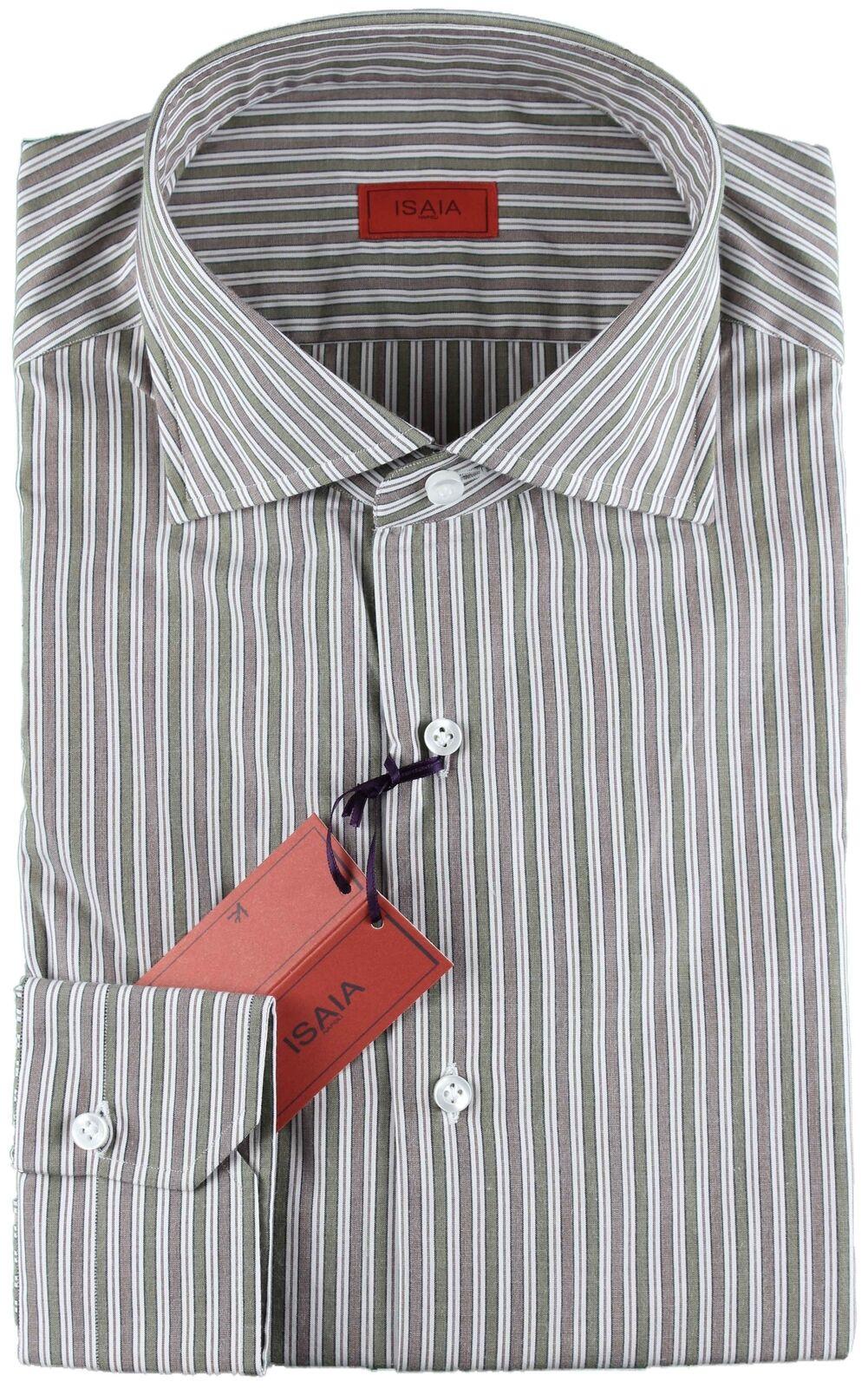 NWT ISAIA hemd Weiß, Grün & beaver striped luxury verbreitung handmade  41 16